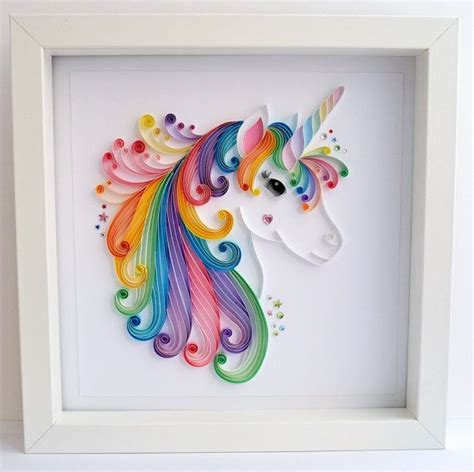 decals handmade artwork unicorn quilling wall art unicorn picture by