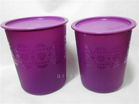 Tupperware Mosaic Canister new tupperware purple mosaic canisters set 1 9l 2 8l