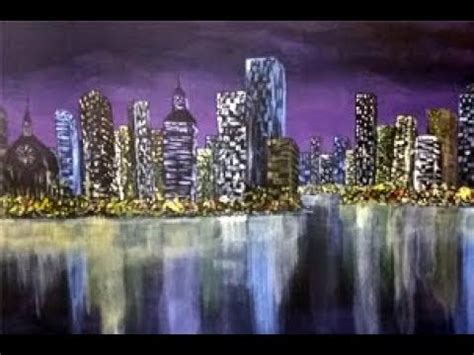 watercolor tutorial city full acrylic cityscape painting tutorial a city night