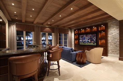 Contemporary Home Theater with In Cabinet Lighting