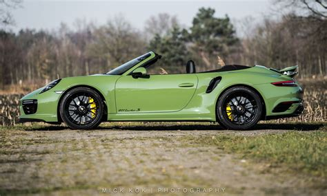 green porsche porsche 911 turbo s cabriolet by edo competition is green