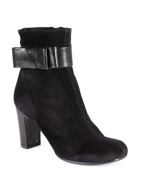 chie mihara friend suede leather ankle boots in black lyst