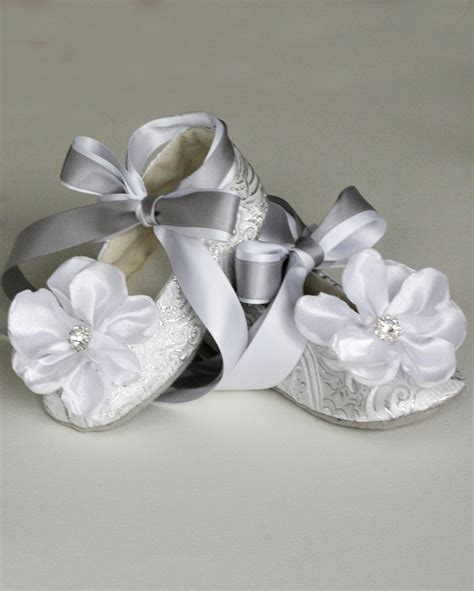 silver baby shoes silver baby ballet slipper toddler flower shoe by