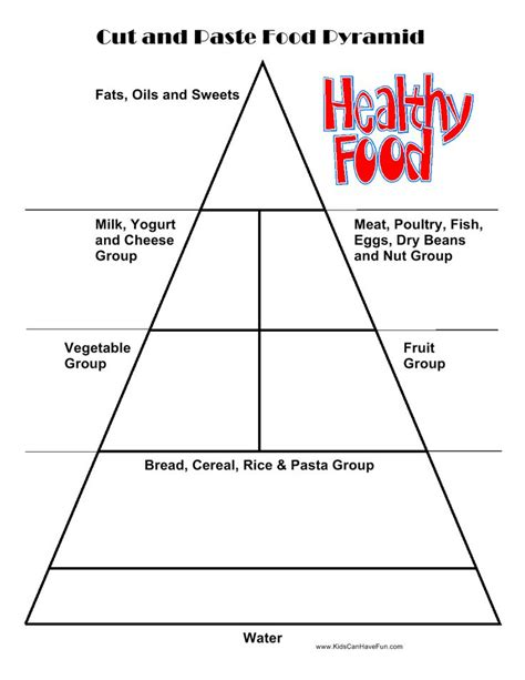 Food Pyramid Worksheet by Cut And Paste Food Pyramid Cut Out Food Choices And
