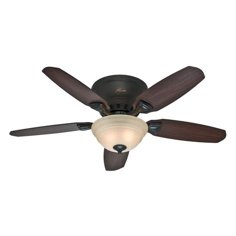 Shop Hunter Louden 46 In Premier Bronze Flush Mount Indoor Flush Mount Ceiling Fans With Light