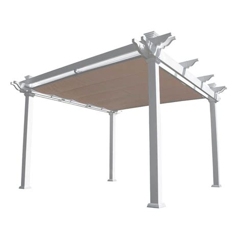 pergola with shade weatherables palmetto 12 ft x 12 ft white double beam