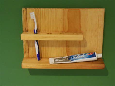simple wood toothbrush holder bathroom shelf