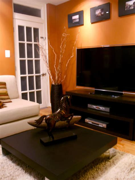 burnt orange and brown living room alex s design portfolio hgtv design hgtv