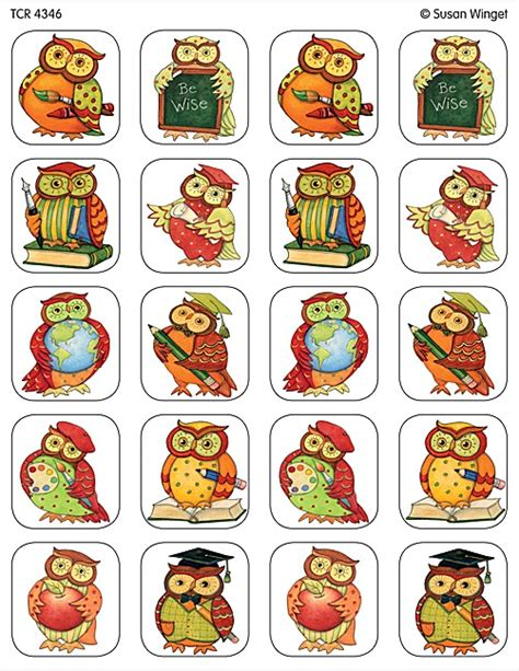 printable owl stickers owl stickers from susan winget tcr4346 teacher created