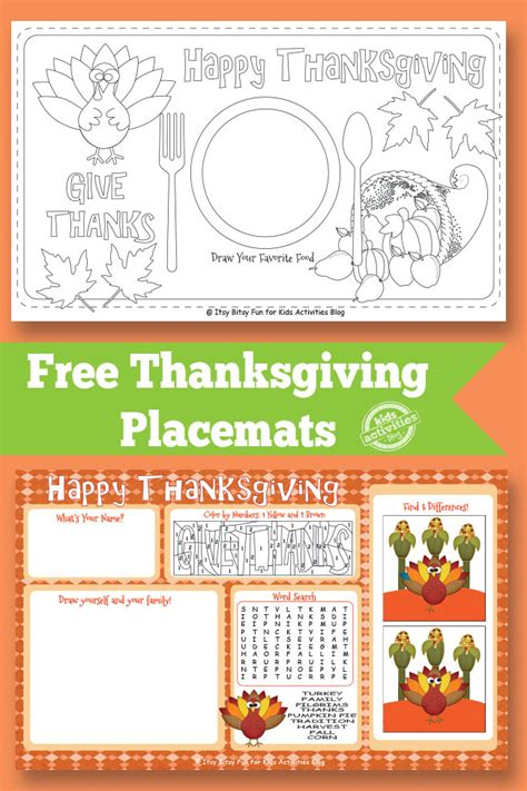 free printable thanksgiving crafts for free thanksgiving placemats free homeschool deals