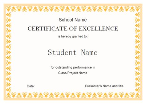 customized certificate templates exle of editable certificate of excellence