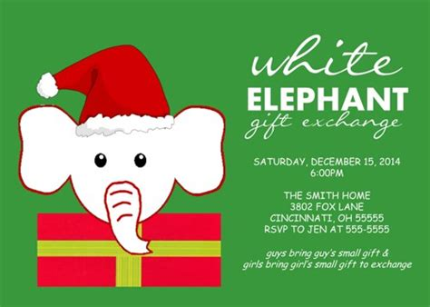 christmas themes for white elephant holiday christmas party invitation white elephant exchange