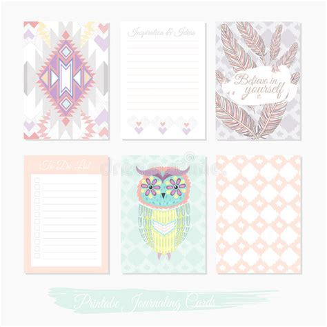 pattern design journal printable cute set of filler cards with aztec pattern owl