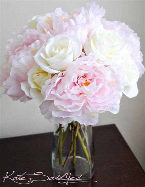 stunning pink peonies greens white roses centerpiece 97 best roses peonies hydrangeas images on pinterest