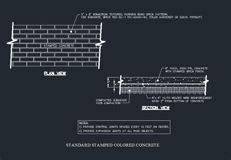 colored section sted colored concrete paving detail cad files dwg