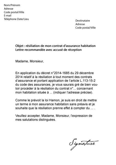 Modele Resiliation Contrat Assurance Habitation lettre de r 233 siliation assurance habitation axa mod 232 le