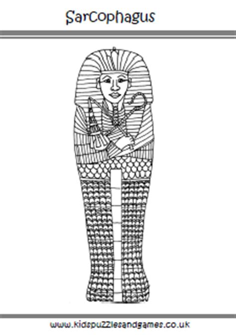 egyptian sarcophagus colouring page kids puzzles and games