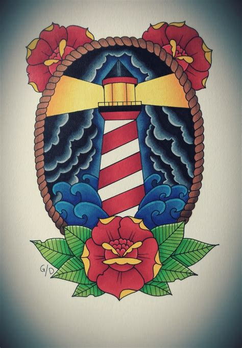 small tattoo flash traditional flash traditional roses lighthouse