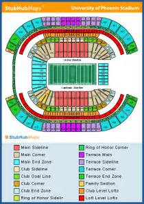University Of Phoenix Stadium Parking Map by University Of Phoenix Stadium Seating Chart Pictures