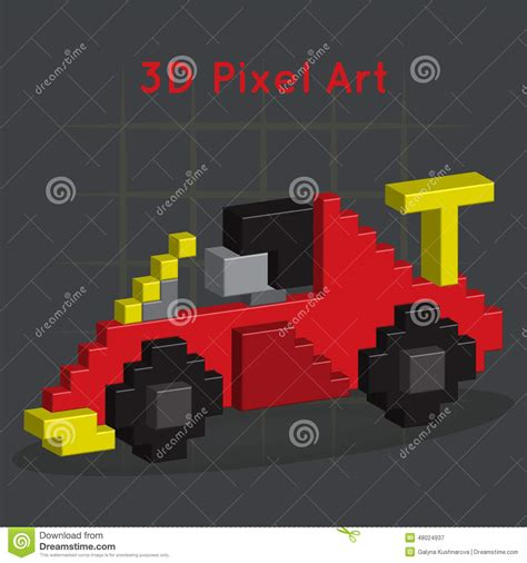pixel race car race car 3d pixel art stock vector image 48024937