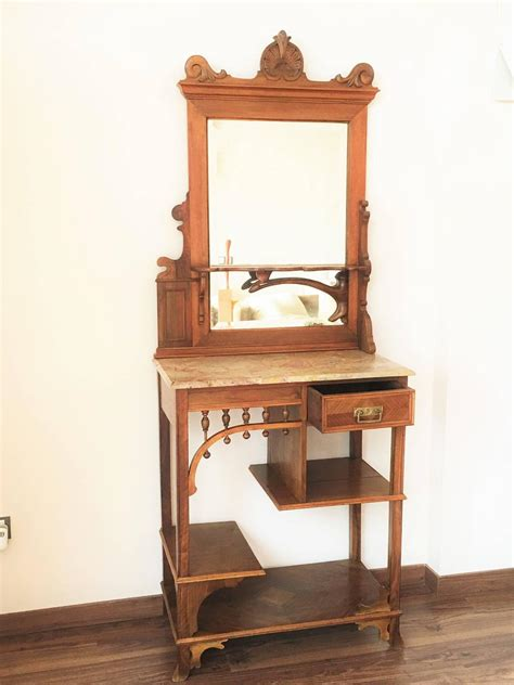 Vanity Hall Furniture Rare And Modern Etagere With Mirror And Drawer Vanity