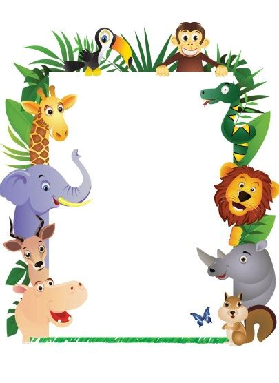 baby jungle animal border clip jungle theme clipart