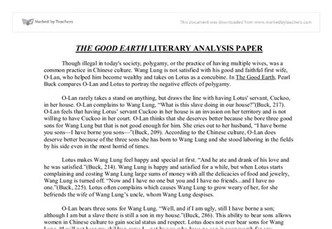 Exle Of A Literary Analysis Essay by The Earth Literary Analysis Paper Gcse Marked By Teachers