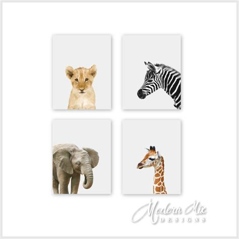 Baby Animal Prints Safari Animal Prints Animal Nursery Decor Animal Nursery Decor