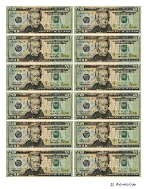 printable mini fake money best photos of printable play money actual size 1 dollar