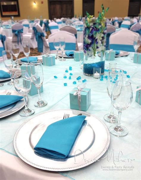 Christopher Peacock turquoise silver and white wedding decor