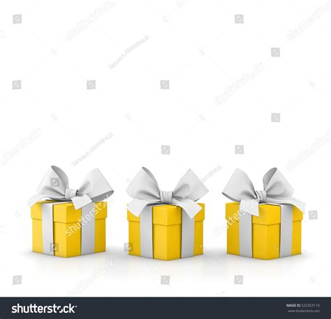 yellow soft christmas gift set yellow gift box isolated stock illustration 525353110