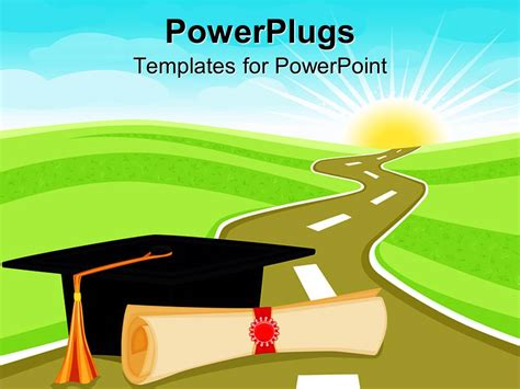 Powerpoint Template Graduation Theme With Rolled Diploma Papyrus And Graduating Hat On A Road Graduation Powerpoint Template