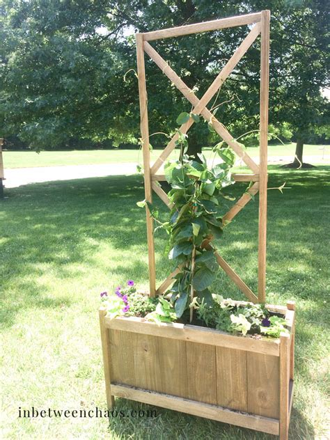 white cedar planter with x trellis diy projects