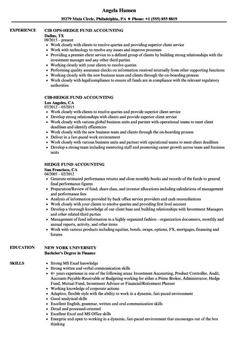 Hedge Fund Reporting Template Fund Accountant Sle Resume Free Printable