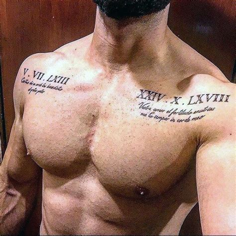 mens tattoo quotes pinterest roman numeral mens upper chest tattoo with quote design