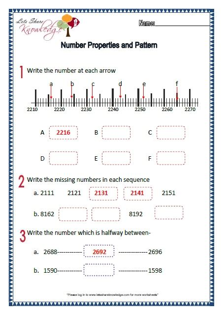 characteristics of pattern in math number patterns worksheet grade 10 number patterns