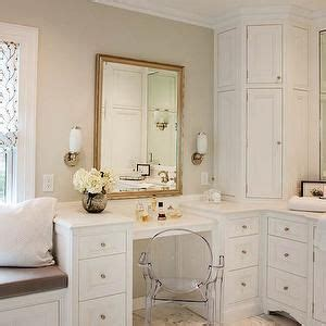 bathroom wall dressing and cupboards drop down make up vanity transitional bathroom crown