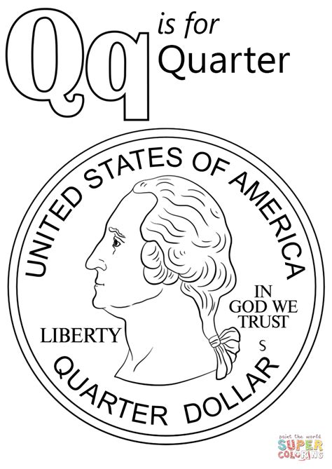letter quarter coloring page printable