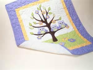 owl tree nursery quilt crib bedding purple by