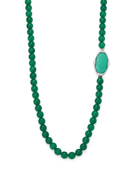 sapphire bead necklace judith ripka green chalcedony white sapphire and sterling