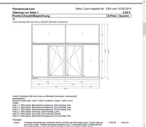 Darstellung Fenster Ansicht by Fensterbausoftware Angebotssoftware F 252 R Fenster T 252 Ren