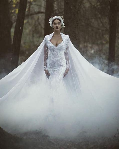 trouwjurk gorgeous white lace mermaid wedding dress
