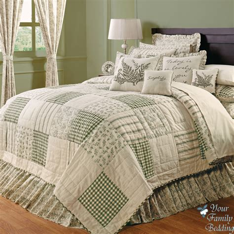 Patchwork Bed - country green ivory floral patchwork cal king