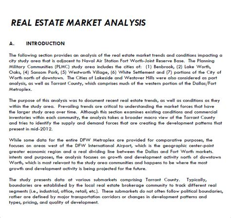 8 Real Estate Market Analysis Sles Sle Templates Real Estate Market Report Template