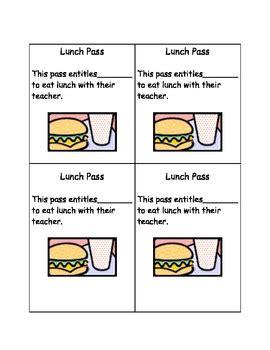 lunch pass template lunch pass by dangler teachers pay teachers