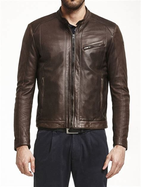 automobili lamborghini jacket leather jacket seal brown collezione automobili