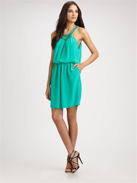 aqua beaded dress shoshanna silk beaded blouson dress in blue aqua lyst