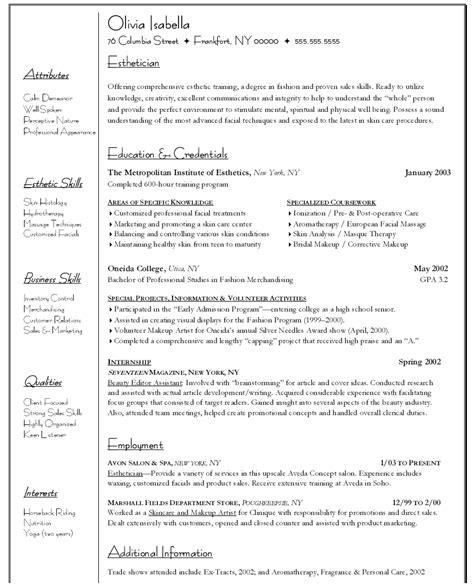 esthetician resume sle no experience esthetician resume no experience free resume templates