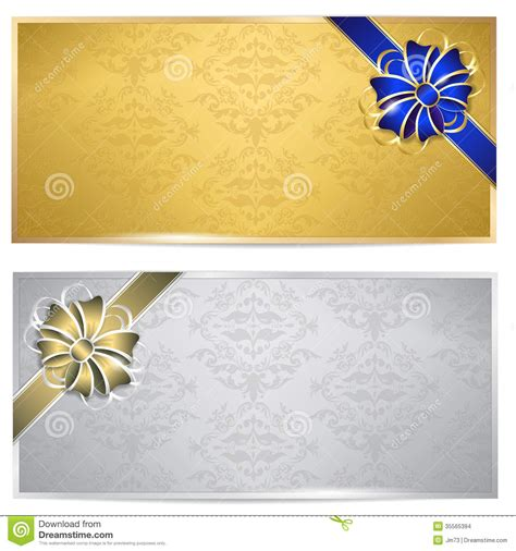 gold and silver gift voucher stock images image 35565394