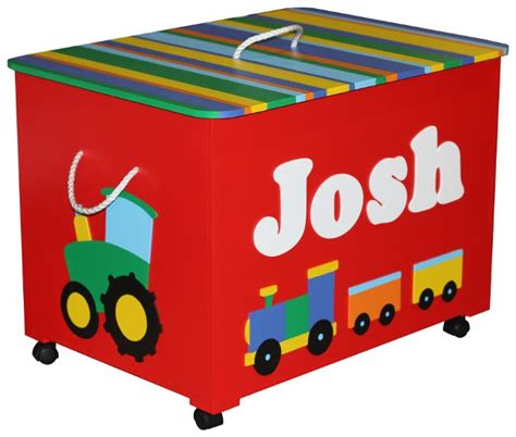 Boy Nursery Wall Stickers personalised red transportation toy box with striped lid